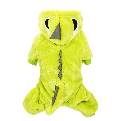 (HaveGet Dinosaur Dog Costume Puppy Clothes for Winter Warm and Soft Velvet Pet Coat for Small Dogs)