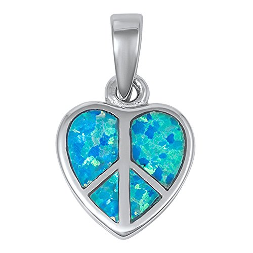 (Peace Sign Heart Pendant Blue Simulated Opal .925 Sterling Silver Charm - Silver Jewelry Accessories Key Chain Bracelet Necklace Pendants)