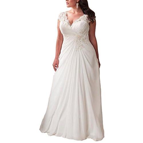 35348a9b907 Mulanbridal Elegant Applique Lace Wedding Dress Chiffon V Neck Plus Size  Beach Bridal Gowns