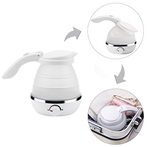 White 0.5L Foldable Travel Electric Kettle Food Grade Silico