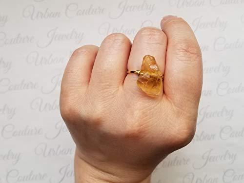 Raw Citrine Gemstone Ring, Raw Citrine Jewelry, Genuine Orange Yellow Citrine Gemstone Jewelry, Mothers day Gift, Birthday Gift, Citrine - Orange Citrine Ring