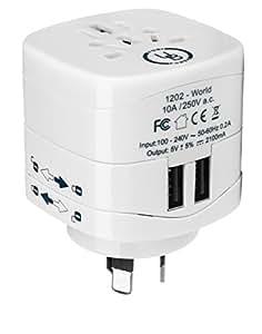 Yubi Power Universal Travel Plug Adapter with Dual USB Ports - Grounded Plug Type I for Australia, Argentina, China, New Zealand