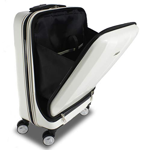 """Exzact Cabin luggage/Carry-on Suitcase Bag - 20"""" / Hard shell/Hardside/Front Pocket for Laptops / 4 wheels 360° Spinning/Lightweight Onboard Suitcase (White)"""