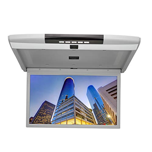 CARAVAN 4K Flip Down Monitor, 15.6″ Wide Screen High Resolution Roof Mount Monitor with 1080p HDMI&USB Input, FM&IR Transmitter (Grey)