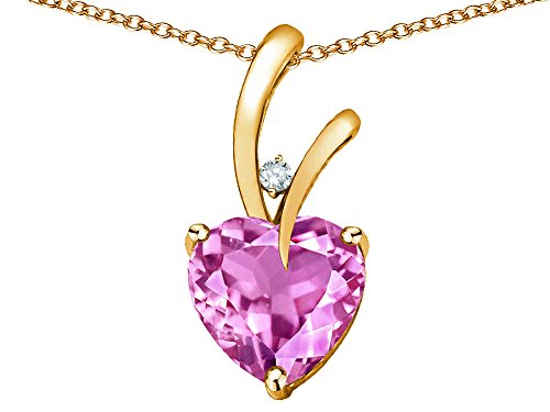 Star K Heart Shape 8mm Created Pink Sapphire Endless Love Pendant Necklace 10 kt Yellow Gold ()