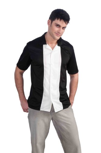 Forum Novelties Men's Fabulous 50's Bowling League Costume Shirt, Black/White, (Men's 50's Bowling Shirt Costume)