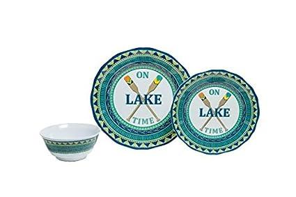 Galleyware On Lake Time 12-Piece Melamine Dinnerware Set Service for 4  sc 1 st  Amazon.com & Amazon.com | Galleyware On Lake Time 12-Piece Melamine Dinnerware ...