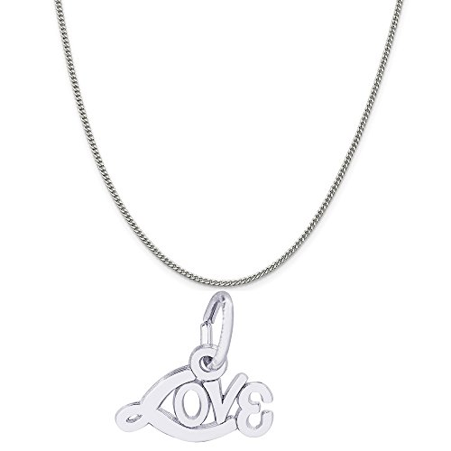 - Rembrandt Charms 14K White Gold Signed with Love Charm on a Curb Chain Necklace, 18