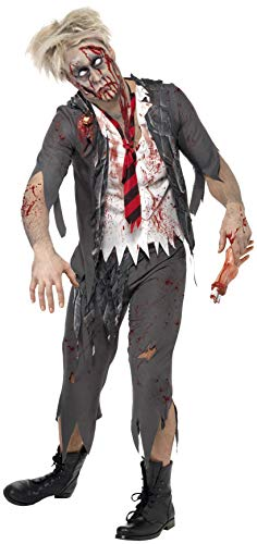 (Smiffys Men's High School Horror Zombie Schoolboy Costume, Jacket, Attached Shirt, Tie and pants, High School Horror, Halloween, Size S,)