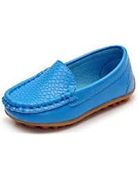 07709f2639e Boy s Girl s Soft Synthetic Leather Loafers Slip On Boat Dress  Shoes Sneakers Flats