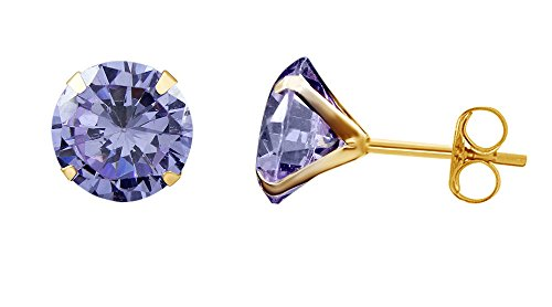 10k Yellow Gold 10mm Round Simulated Alexandrite Stud Earrings