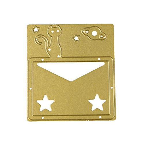 Euone New Flower Heart Metal Cutting Dies Stencils DIY Scrapbooking Album Paper Card Craft (I, Gold)