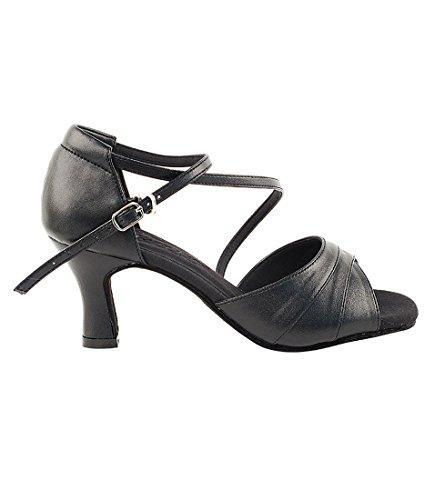 Mycket Fin Balsal Latin Tango Salsa Dansskor För Kvinnor C1659 2,5 Häl + Vikbar Skoborste Bunt Svart Läder