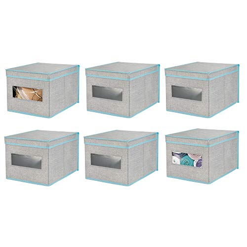mDesign Soft Fabric Stackable Closet Storage Organizer Holder Box with Clear Window, Attached Hinged Lid - Bedroom, Hallway, Entryway, Closet, Bathroom - Textured Print, Large, 6 Pack - Gray/Teal Blue