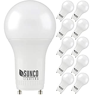 Sunco Lighting 10 Pack A19 LED Bulb, 9W=60W CFL Replacement, 4000K Cool White, 800 LM, Dimmable, Twist and Lock GU24 Pin Base, Indoor Light - UL