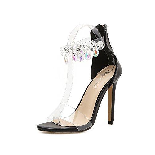 ZHZNVX black sandalias perforación de alto mujer de tacón Agua fBfwqnFzrS