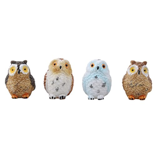 Iumer 4Pcs Animal Resin Owls Miniatures Figurine Craft Pots Home Fairy Garden Ornament Decoration