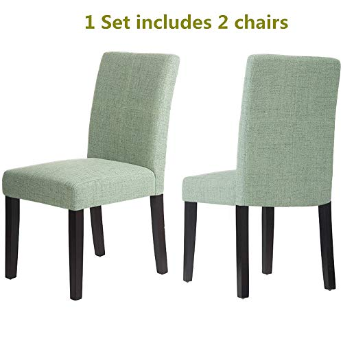 OCGIG 2 Pcs Parsons Upholstered Fabric Classic Dining Chair Mint Green,US Stock