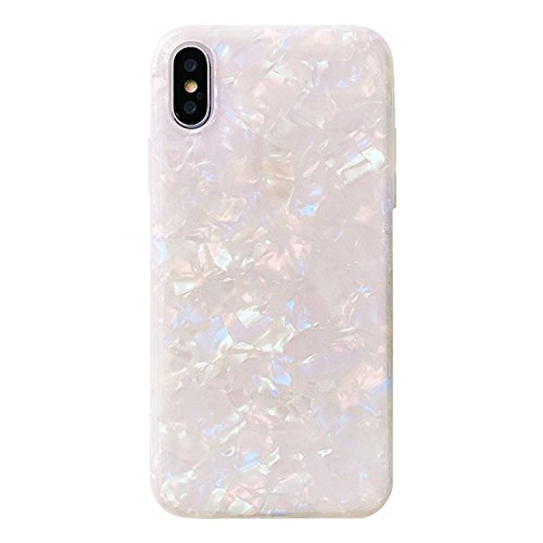 (Phone Case Compatible with iPhone Xs Max, GIZEE Cute Glitter Pearly-Lustre Translucent Flexible Soft Slim Fit Full Protective Shell Pattern Phone Case for Girls (Colorful))