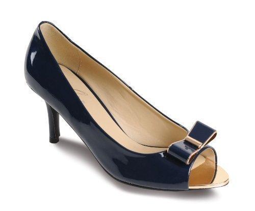 Sapphire - Scarpe da Donna Decollete con Punta Aperta e Fiocco a Contrasto  con Tacco Basso 4223f069d94