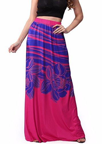 Womens Boho Contraste Color Tribal Floral Casual Maxi Beach Skirt Vestido Rojo