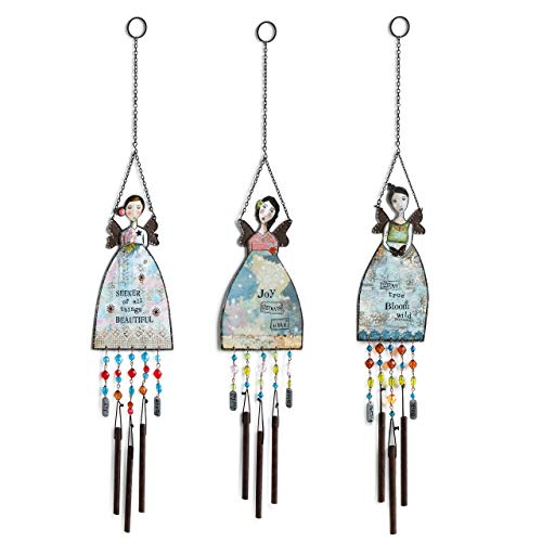 DEMDACO Angel Floral Blue 27 x 5 Iron Metal and Glass Beads Chimes Set of 3 -