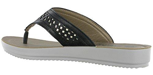 alla Bm024 Cinturino Caviglia con Black Donna Glamour Sandali INBLU xqwH0ftICn