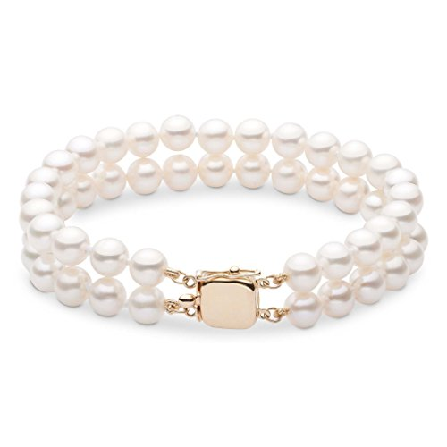 [7.5-8.0 mm White Freshwater AAA Cultured Pearl Double Strand Bracelet - 7 inch - 14K Yellow Gold] (Double Strand 7