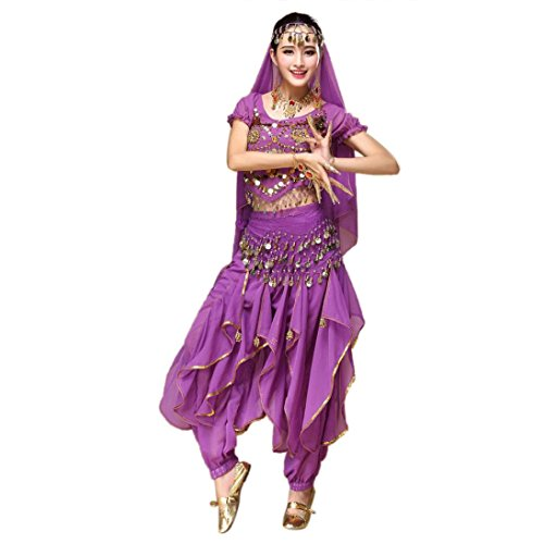 [KESEE Women Belly Dance Outfit Costume India Dance Clothes Top+Skirt (Purple)] (Tribal Costumes Of India)