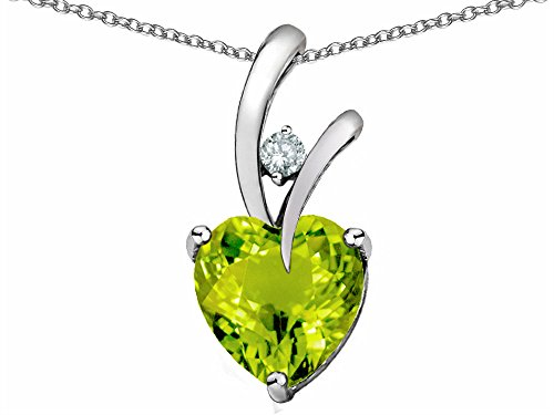 Star K Heart Shape 8mm Simulated Peridot and Cubic Zirconia Endless Love Pendant Necklace Sterling Silver