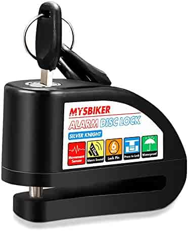 MysBiker Alarm Disc Lock,Motor Bike Lock and Waterproof Brake Disc Wheel Alarm Security Lock with,Suitable for Harley,KTM,Yamaha,Moto Guzzi,BMW,etc (Medium, Black)