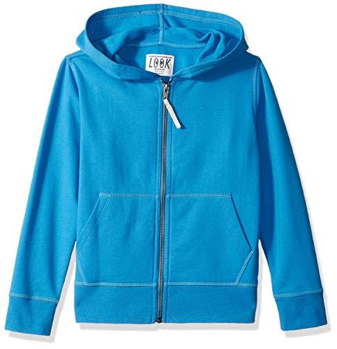 LOOK by Crewcuts Boys' Zip Front Hoodie, Blue, Large (10)