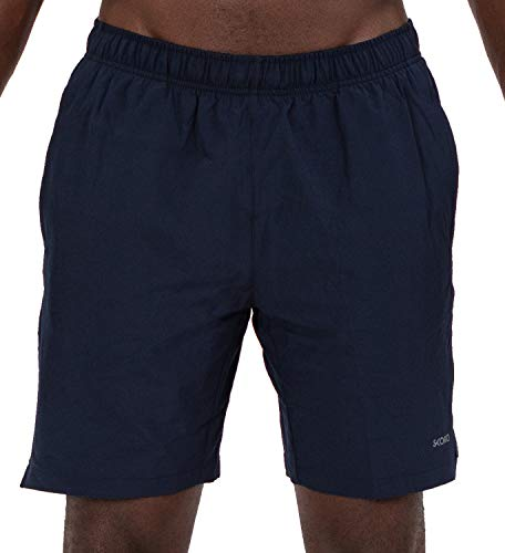 2 Under Mens Woven Shorts - Skora Men's Shorts Running Active Stretch Woven with Stretch Brief and Side Pockets 7 Inch Inseam, Dark Navy, Small