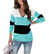 Ofenbuy Womens Casual V Neck Sweater Long Sleeve Lightweight Pullover Shirts Color Block Tunic Tops