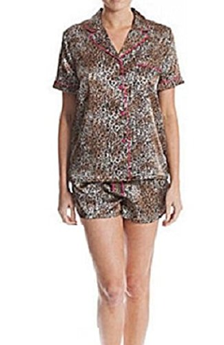 In Bloom by Jonquil Women's Satin Shortie Pajama Set (1X, Animal Print)