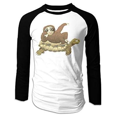 Sloth Riding Turtle Cotton Boys Long Sleeve Raglan T-Shirts Round-Neck Baseball Tee Shirt For Men - Sloth T-Shirts