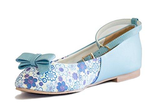 Bf Sole Lady Bowtie Fiore Floreale Casual Cinturino Alla Caviglia Scarpe Piatte Blu