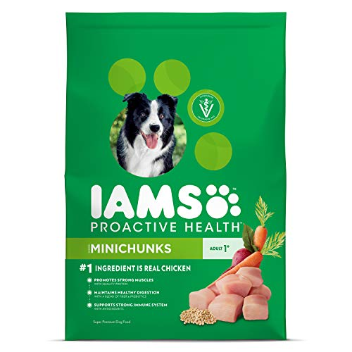 Iams Proactive Health Adult Minichunks Dry Dog Food Chicken, 7 Lb. Bag (Slide Heart Omega)