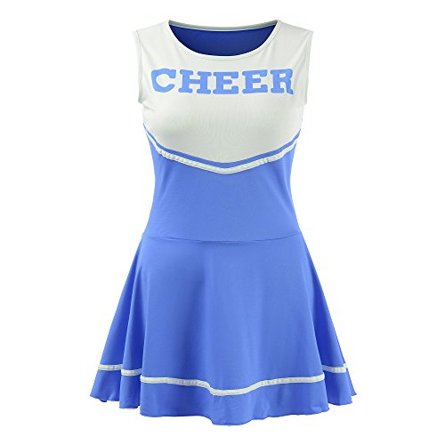 Women's Musical Uniform Fancy Dress Cheerleader Costume Outfit (Blue)