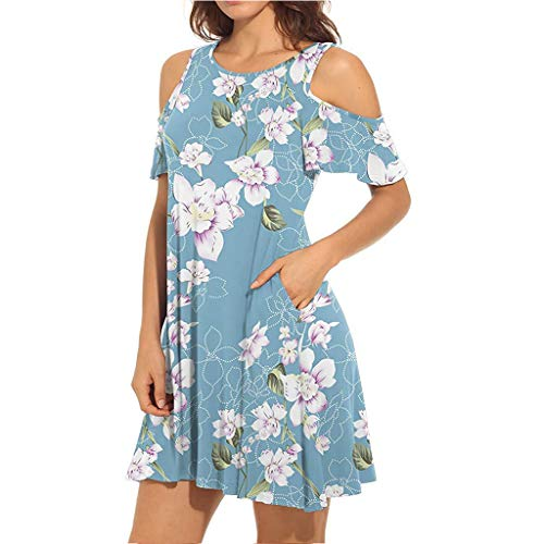 Sun Dresses, Misyula Women Summer Dress Boho Flower Print Pattern with Pockets Scoop Neck Short Flared Sleeves Floral Durable Comfy Cold Shoulder Clothes Petite Soft Loose Fit Party Wear Light Blue XL ()