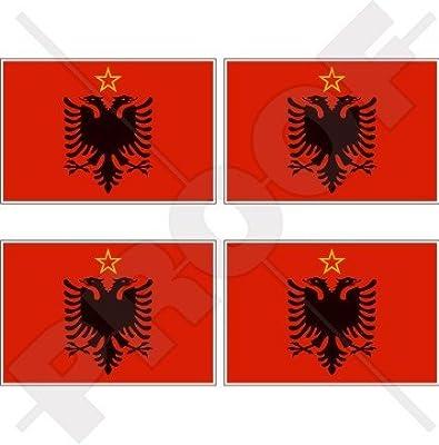 "Bumper-Helmet Stickers-Decals x4 ALBANIA Albanian Shqiperia Shield 50mm 2/"""