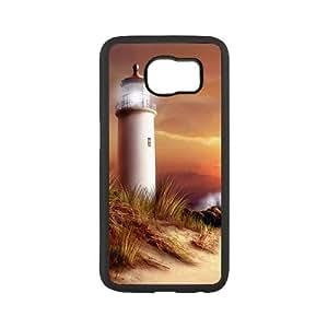 Diy Beach Lighthouse Phone Case for samsung galaxy s6 Black Shell Phone JFLIFE(TM) [Pattern-2]