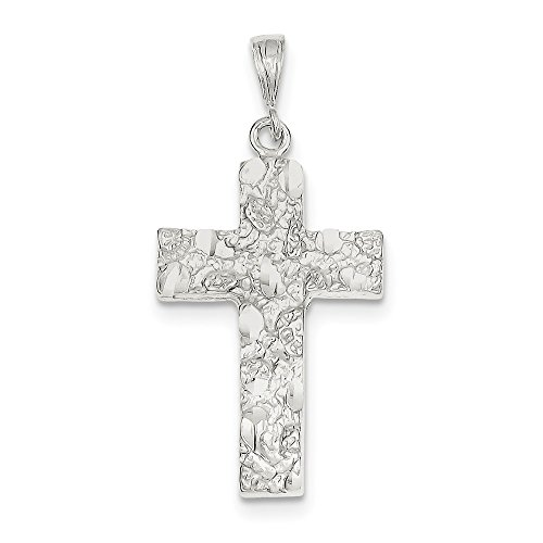(Mia Diamonds 925 Sterling Silver Solid Nugget Cross Pendant (46mm x 22mm))