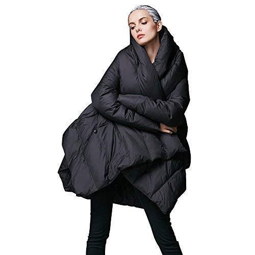 YVYVLOLO Women's Winter Jacket Cloak Loose Parka Warm Coat(FM1618-Black-XXL)
