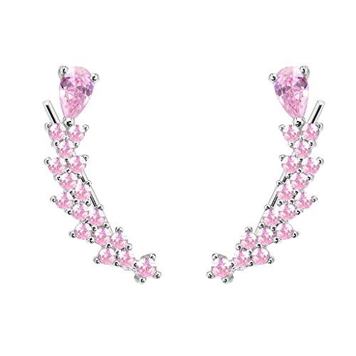 EVER FAITH Women's 925 Sterling Silver CZ Sweep Ear Pin Cuff Wrap Hook Earrings Pink 1 Pair