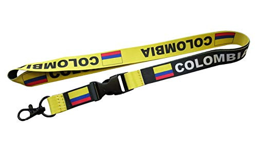 Colombia Flag Reversible Lanyard Keychain with Quick Release Snap Buckle and Metal Clasp - ID Lanyard for Keys, Badges, USB, Whistle - ID Holder Keychain for Women, Men, Kids (Black or Yellow) 1-Pack