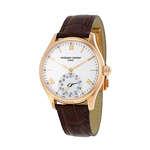 Frederique Constant Horological Smartwatch Mens Fitness Watch - 42mm White Face Swiss Quartz Smart Running Watch - Brown Leather Band Water Resistant Sleep Monitor Activity Tracker Watch FC-285V5B4