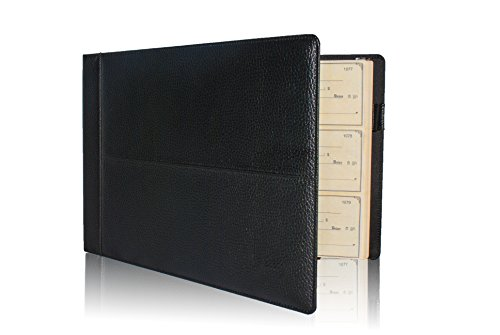 Skittz Premium PU Leather Business Check Binder 7 Ring 3 on a Page Checkbook Holder w/ Zip (Premium 3 Ring)