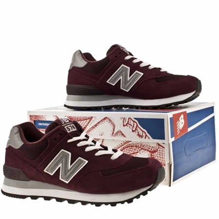 New New Balance 574 Suede And Mesh Burgundy Womens Trainers