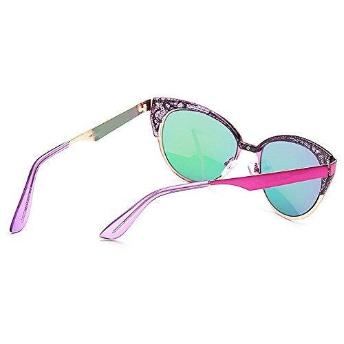 Protección Que Flor Mujeres Vintage Hueco de Gafas Marco Eyes Libre de Color Sol del Cat viaja Conducción Aire la Peggy al Diseño para Azul Gu de Púrpura UV wXZqEn8xg